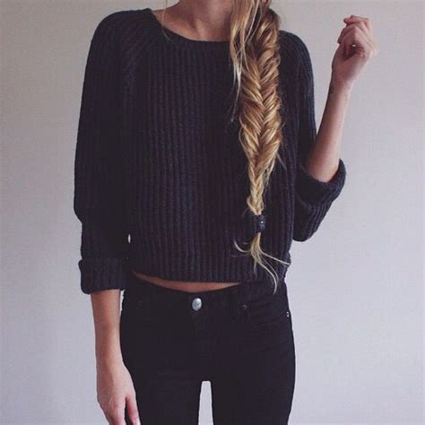 Adorable artsy black clothing line comfy cute fashion girl gorgeous hair jeans outfit ...