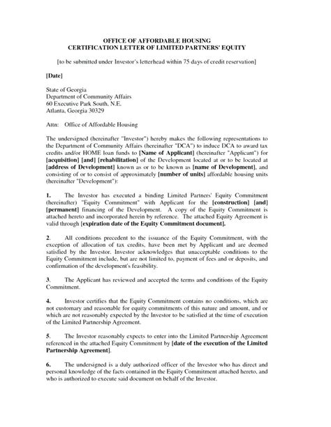 Investor Financing Agreement Template by Commitment Letter Sle Images Cv Letter And