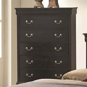 Coaster 201075R Black Wood Chest of Drawers - Steal-A-Sofa
