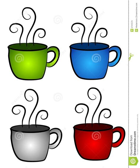 Hot Cup of Coffee Red White and Blue Clipart