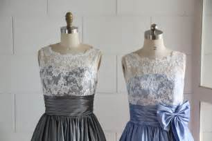 blue grey bridesmaid dresses vintage inspired v back lace ivory blue grey taffeta by misdress wedding interest