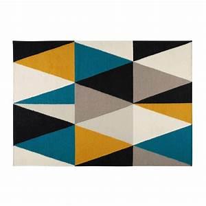 Maison Du Monde Tapis Rond : tapis motifs triangles multicolores 200x140cm archi ~ Zukunftsfamilie.com Idées de Décoration