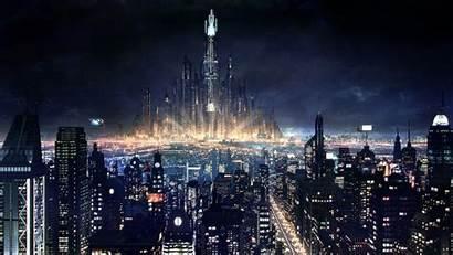 Future Night Skyline Cityscape Escape Background Wallpapers
