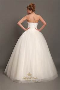 ivory strapless tulle ball gown wedding dresses with 3d With ivory ball gown wedding dress