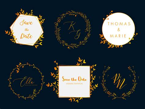 Wedding Invitation Floral Wreath Minimal Design Vector