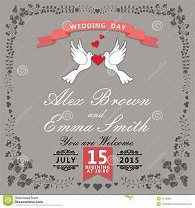 cute wedding invitationfloral items and cartoon pigeons With wedding invitation jacket templates