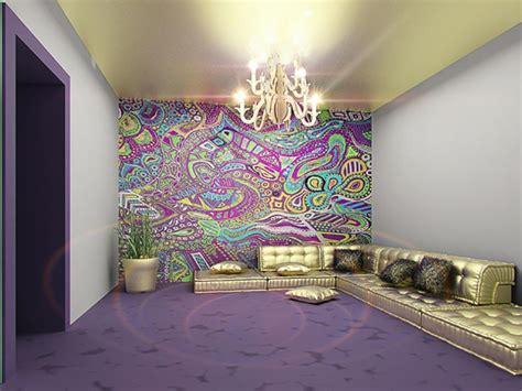 idees decoration chambre design intérieur inspiré par des murs aux dessins créatifs
