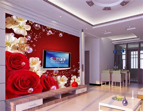 Home Decor 3d : Buy Custom 3d Wallpaper Murals Red Rose