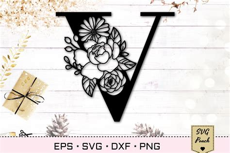 floral letter  svg flower  monogram font initial svg  cut files design bundles
