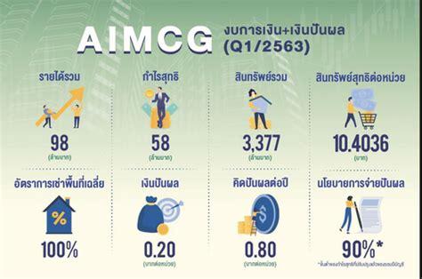 ทรัสต์ 'AIMCG' เด่น โชว์ผลประกอบการพร้อมจ่ายเงินปันผล ...