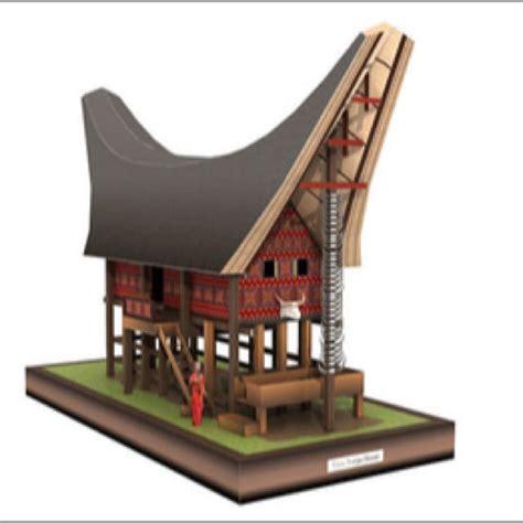 miniatur rumah tongkonan toraja desain kerajinan tangan