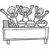 Coloring Lunch Ladies Cafeteria Surfnetkids Pyramid Template Otter Sea sketch template