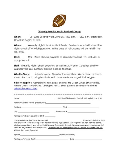 waverly youth football camp registration information