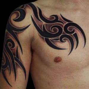 Man Chest And Tribal Tattoo On Right Half Sleeve