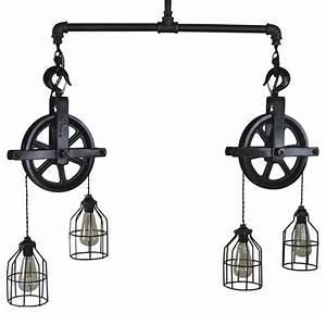 Double Barn Pulley Ceiling Light - Industrial - Pendant