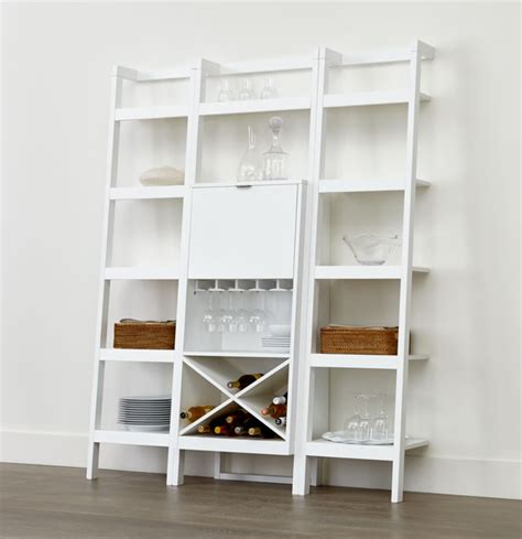 sawyer white leaning wine bar    bookcases
