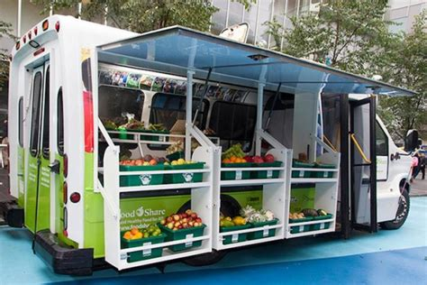 one mobile market converted into mobile food market brings fresh produce