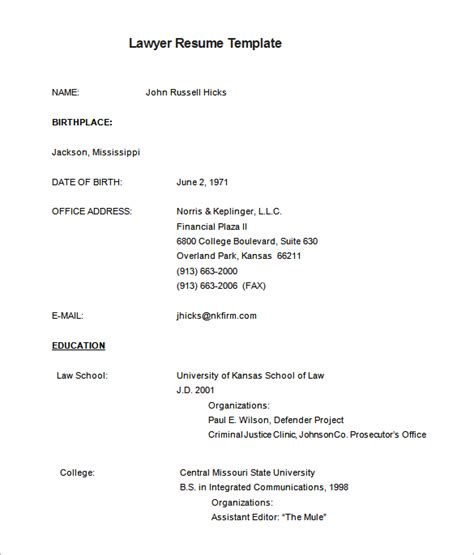 lawyer resume template 6 free sles exles format