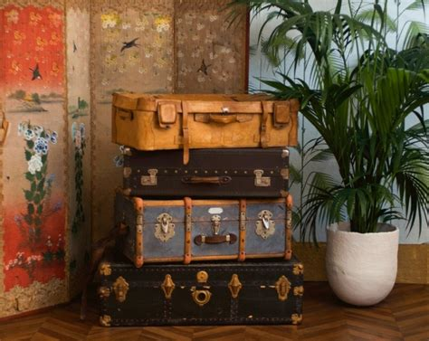 chambre boheme valise vintage cuir ées 30 1940 ancienne
