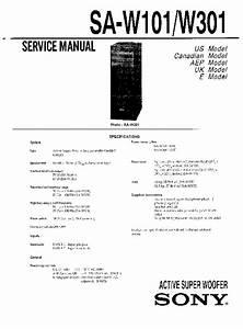 Sony Sa-w101  Sa-w301 Service Manual