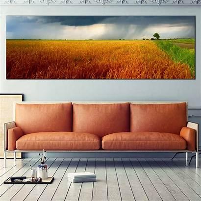 Canvas Orange Sky Piece Scenery Clouds Panoramic