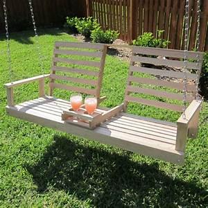 Beecham Swing Co  Drink Cupholder Wooden 5 Foot Porch Swing