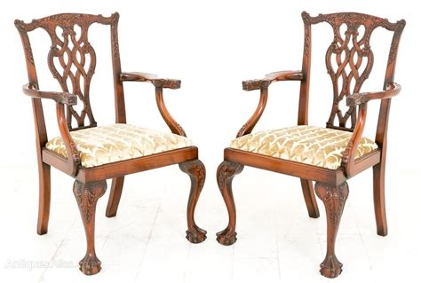 antiques atlas pair of chippendale style arm chairs