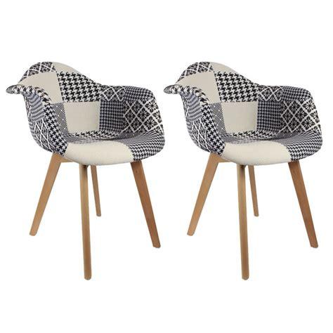 chaise noir et blanc design lot de 2 fauteuils design scandinave patchwork noir et blanc