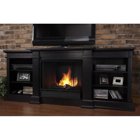 Black Fireplace - real fresno 72 quot indoor gel tv stand fireplace in