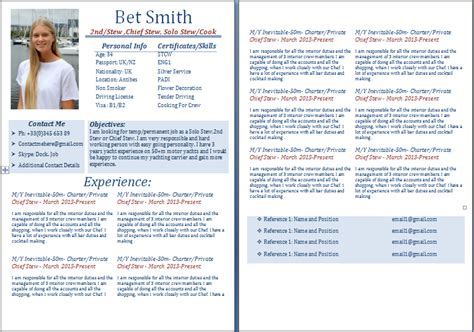 Yacht Stewardess Resume Sle by Make A Business Resume R 233 Sum 233 Templates Tailored For