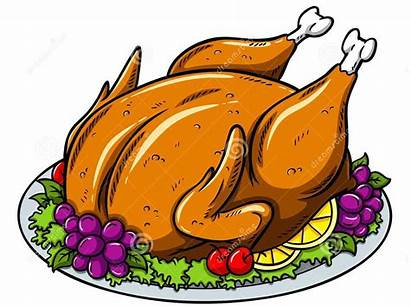 Turkey Cartoon Roasted Plate Vector Thanksgiving Pink