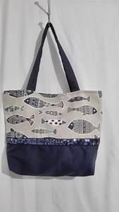 Sacs à Gravats : sac tissu poisson et bleu marine sac a main par ~ Nature-et-papiers.com Idées de Décoration