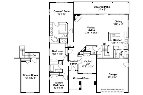 craftsman floor plans craftsman house plans greenleaf 70 002 associated designs