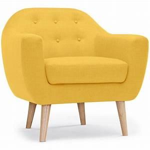 Fauteuil Scandinave Jaune : fauteuil scandinave tissu lopy 78cm jaune ~ Melissatoandfro.com Idées de Décoration