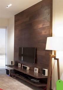 Mur Tv Bois : mur tv design en bois et tablette style contemporain ~ Teatrodelosmanantiales.com Idées de Décoration