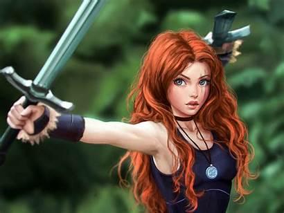 Warrior Fantasy Desktop Celtic Redhead Sword Characters