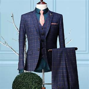 high quality new fashion male suit set groom wedding dress With costume homme carreaux