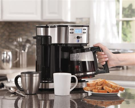 Hamilton Beach 2 Way Coffee Maker One Single Serve Brewer 12 Cup Black Silver   eBay