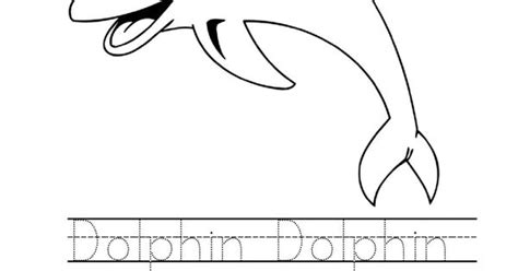 Tracing Word Dolphin Worksheet. Dolphin Coloring Page For