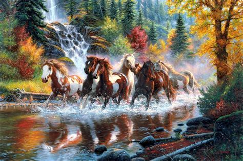 Horses the horses waterfall forest autumn river by Mark ...