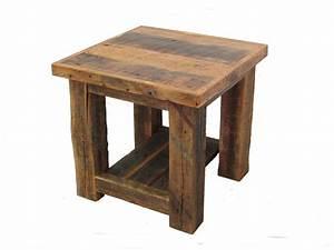 Reclaimed Barn Wood Post End Table White Cedar Barnwood