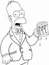 Homer Coloring Simpson Beer Chopp Tomando Colorir Desenho Bart Drawings Simpsons Desenhos Template Tudodesenhos Donut Imprimir sketch template
