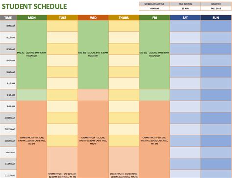 study schedule template free weekly schedule templates for excel smartsheet