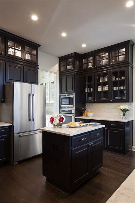 black kitchen cabinets  glass front doors