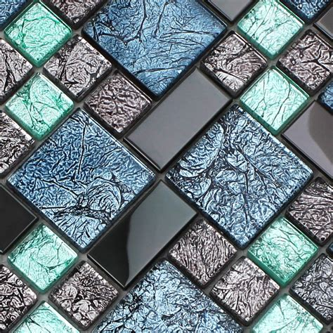 blue kitchen backsplash black stainless steel backsplash metal glass mosaic tile