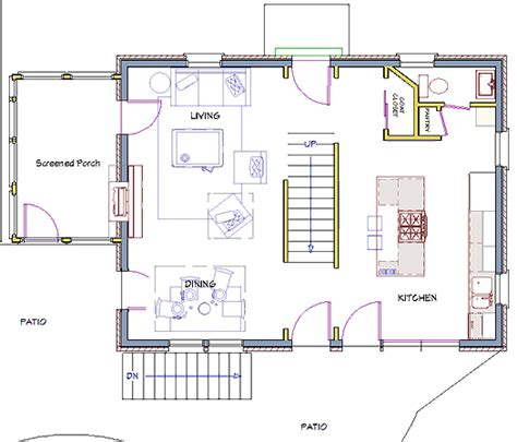 modest colonial floor plan  walls  stairwell