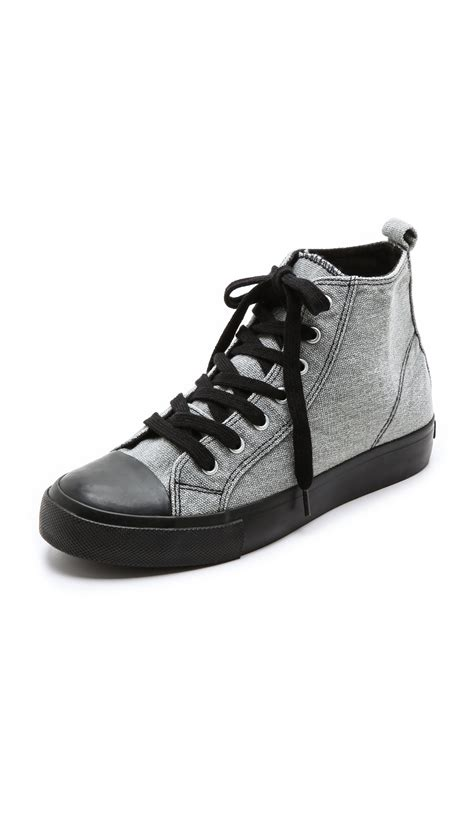 High Top by Cheap Monday Base High Top Sneakers In Gray Grey Canvas
