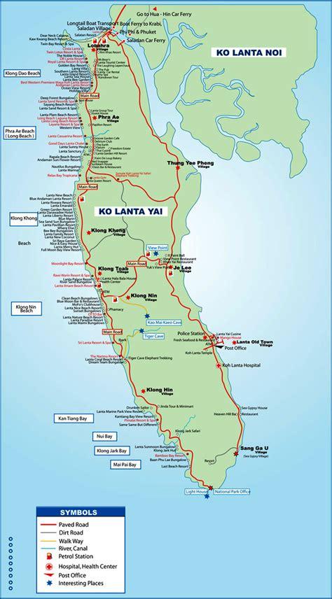 regionen orte koh lanta karte koh lanta thailand tours