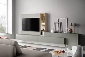 Parete attrezzata per soggiorno moderno in legno idfdesign for Parete soggiorno moderno