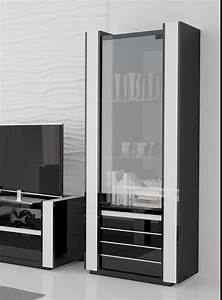 Vitrine Lumineuse Noir Et Blanc Laqu U00e9 Design Katarine
